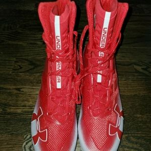 Underamour Red Plastic Cleats Multiple Sizes NWOB